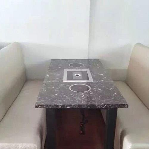 简约大理石火锅一体桌尺寸定做 火锅一体桌价格 大理石火锅一体桌深圳厂家直
