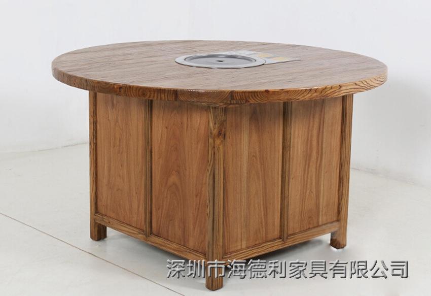中式时尚休闲的实木火锅桌