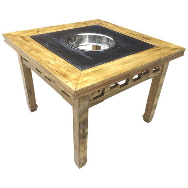 碳化实木火锅桌 火锅店茶青色老款式仿古火锅桌