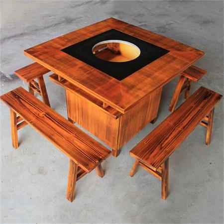 柜式实木火锅桌 电磁炉煤气灶炭烧木火锅桌椅组合