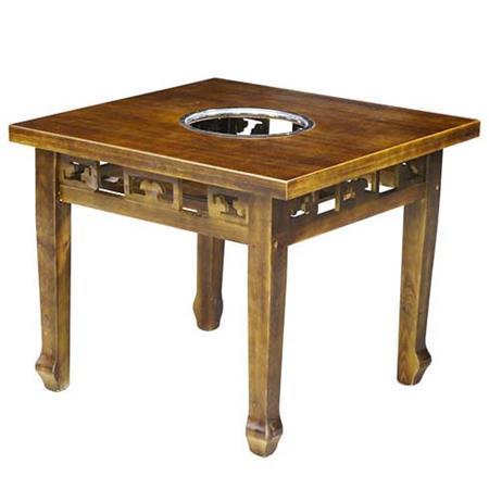 炭烧正方形天然实木火锅桌-八仙桌