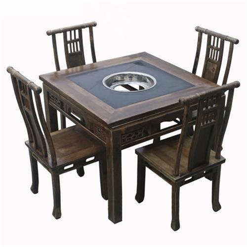 实木雕花仿古新中式下沉式火锅桌