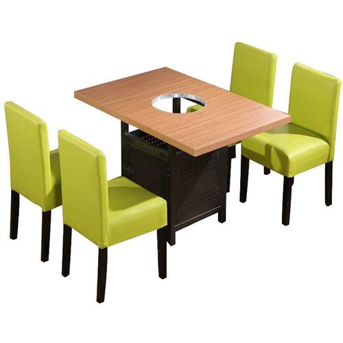 实木桌面方形铁脚简约火锅桌