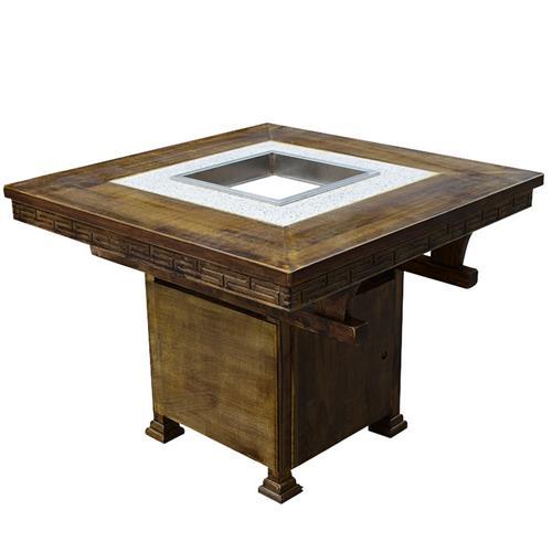 碳化实木火锅桌椅组合_厂家直销定制实木火锅桌椅