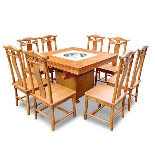 实木火锅桌_复古做旧老火锅桌