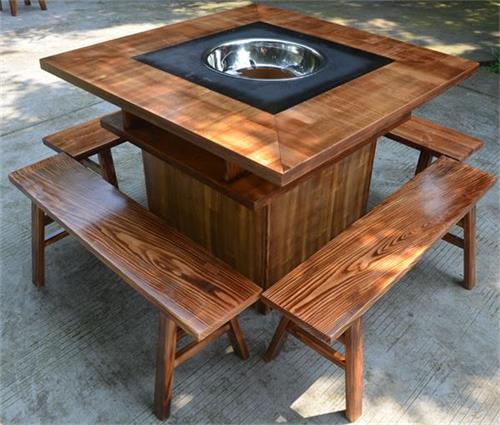 柜式实木火锅桌