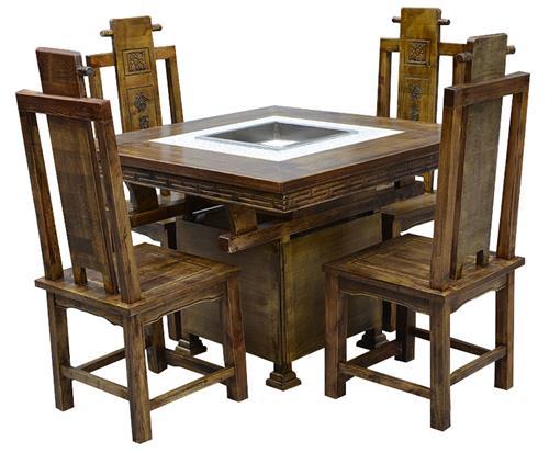 碳化实木火锅桌椅组合