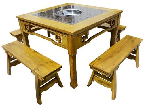 火锅店雕花实木火锅桌 仿古松木老火锅桌
