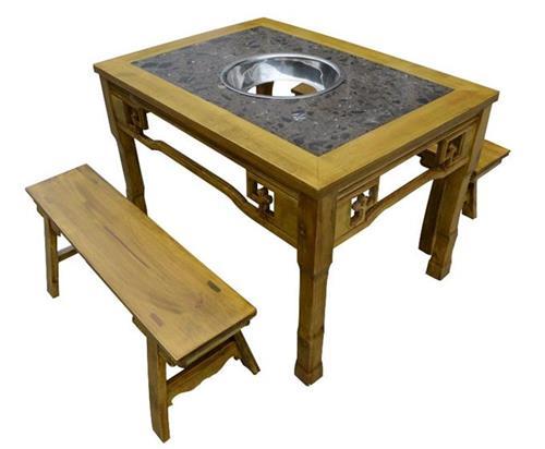 仿古雕花实木边框镶嵌大理石火锅桌