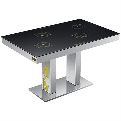不锈钢火锅餐桌_钢化玻璃火锅店桌椅_一人一锅电磁炉火锅桌