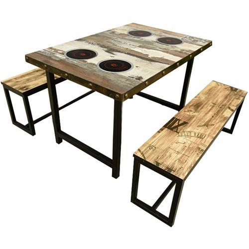 复古工业风一人一锅电磁炉火锅桌