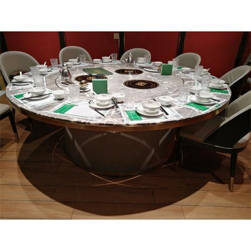 酒店轻奢大圆桌火锅电磁炉餐桌包房