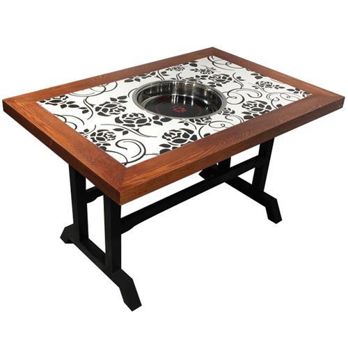 实木复古下沉式电磁炉串串香火锅桌椅