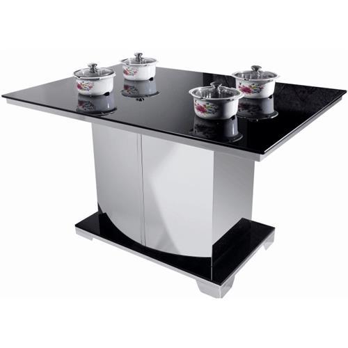 一人一锅多人位钢化玻璃隐藏式电磁炉火锅桌