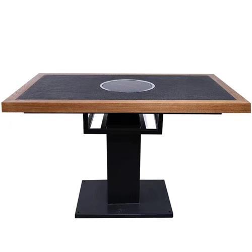 实木边框镶嵌火烧石4人位电磁炉火锅桌子