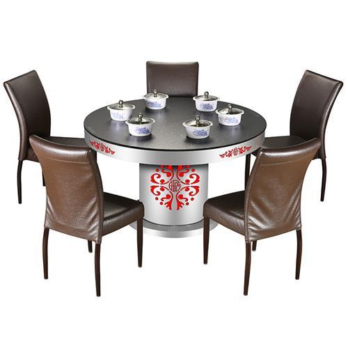 不锈钢火锅圆桌多人位玻璃火锅桌