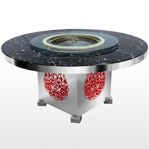 不锈钢桌架大理石桌面无烟火锅桌