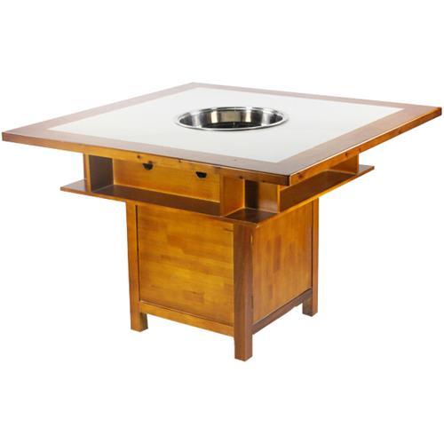 高档实木白色大理石柜式电磁炉燃气灶火锅桌