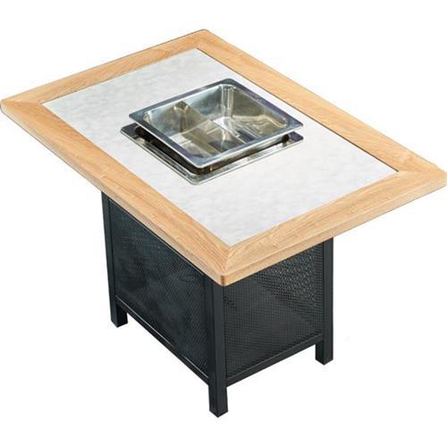 实木边框人造大理石台面火锅桌