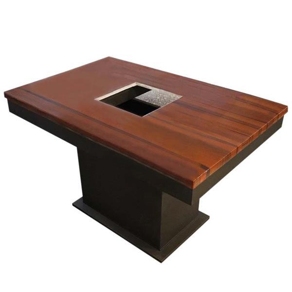 红棕色大理石桌面电磁炉火锅桌_五金磨砂餐桌底座_五金方桶脚餐桌