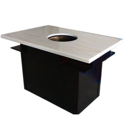 大理石台面实木桌脚电磁炉火锅餐桌