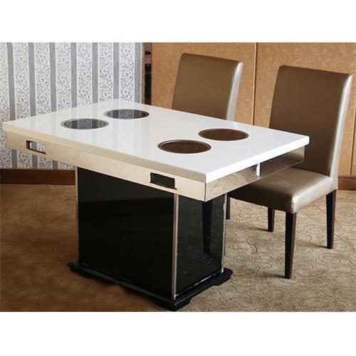 不锈钢桌脚大理石台面一人一锅小火锅桌