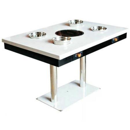 不锈钢钢桌脚大理石桌面一人一锅电磁炉火锅桌