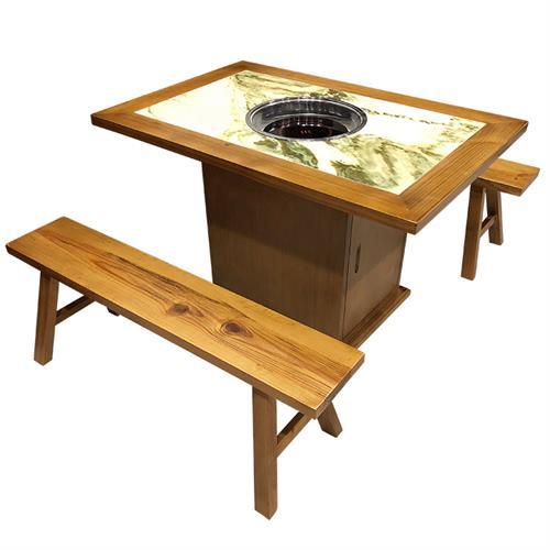 4人位实木镶嵌大理石下沉电磁炉火锅桌