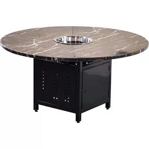 铁桶底座大理石台面圆形电磁炉火锅桌