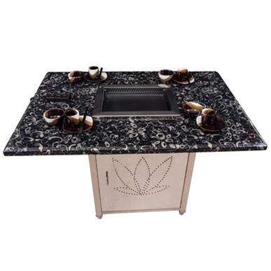 大理石餐台饭桌烤涮炉桌自助火锅餐厅大理石烧烤桌