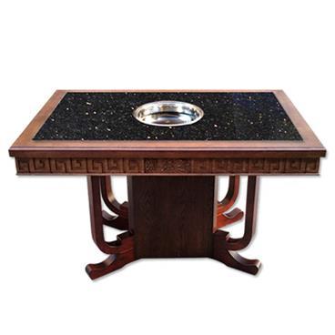 实木边框镶嵌复古黑金沙大理石火锅桌电磁炉串串香火锅桌
