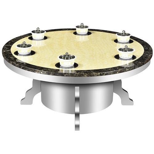 不锈钢桌脚大理石桌面一人一锅小火锅桌