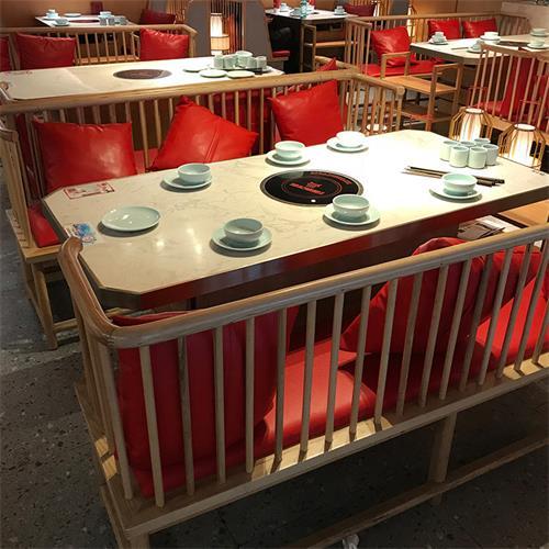 不锈钢封边大理石台面电磁炉火锅桌