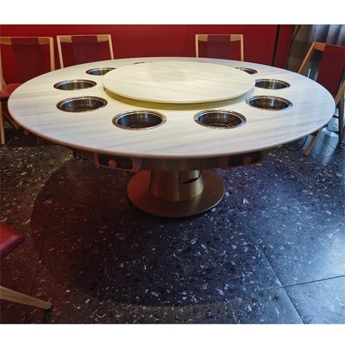 饭店大理石带电磁炉一体小火锅桌子