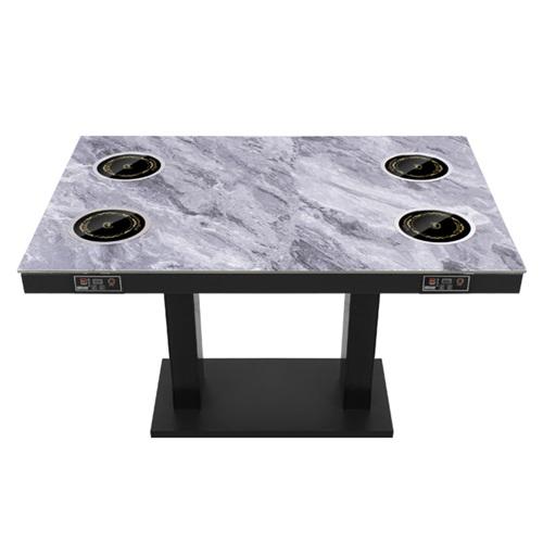 餐厅时尚大理石隐形电磁炉火锅桌子