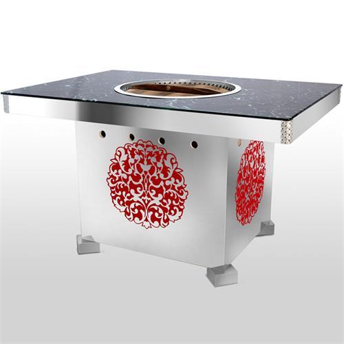 不锈钢雕花底座大理石火锅桌