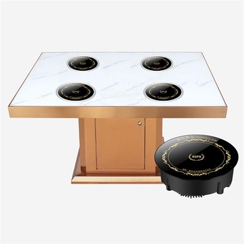 四人位大理石隐形电磁炉小火锅餐桌