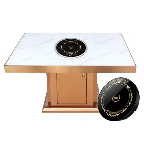 不锈钢大理石隐形电磁炉触控火锅桌