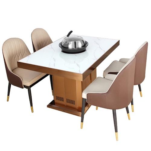 高档海鲜餐厅时尚大理石蒸汽火锅桌
