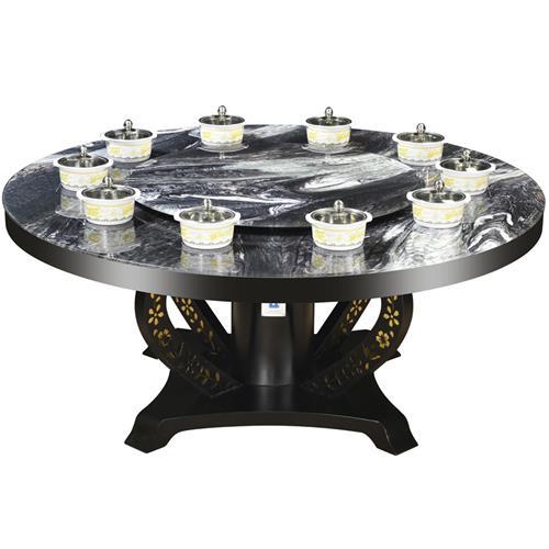 大理石桌面不锈钢桌架一人一锅圆形火锅桌