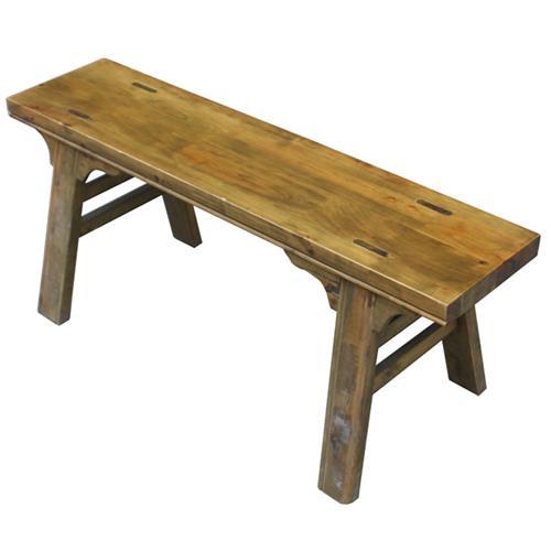 实木仿古雕花茶青色火锅店长条凳板