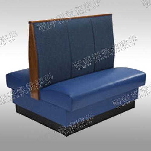 皮制拉扣双人沙发 橡木框架火锅店沙发 双人双面卡座沙发