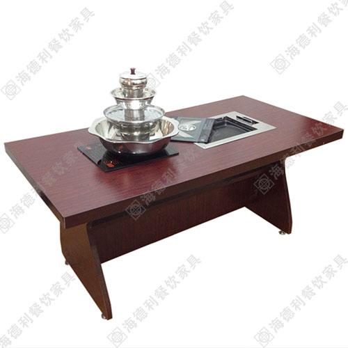 自助实木无烟烧烤桌 火锅桌与烧烤桌为一体 韩式自助实木烧烤桌 实木烤肉桌