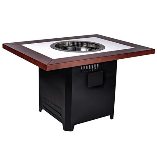 实木自助无烟烧烤桌子_大理石自助无烟净化烤肉桌