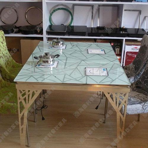 厂家直销 无烟火锅餐桌 钢化玻璃桌 小户型电磁炉火锅桌