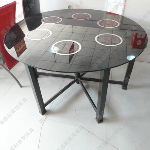 厂家直销钢化玻璃无烟火锅桌椅燃气灶火锅桌电磁炉火锅桌圆桌定做