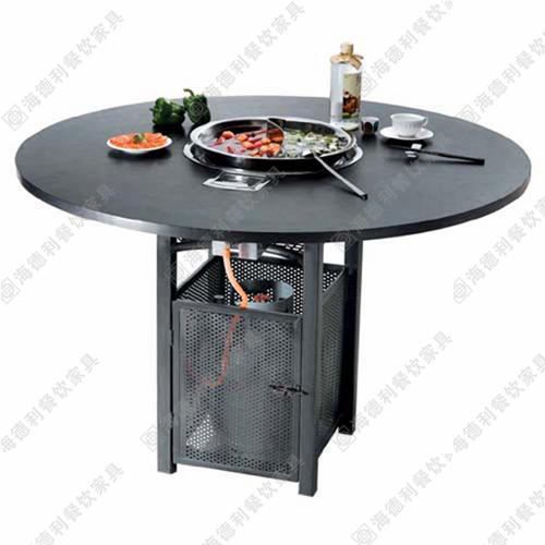 不锈钢火锅桌底盘火锅桌电磁炉火锅桌椅多人小火锅桌桌椅组合批发