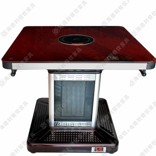 钢化玻璃电磁炉火锅桌 不锈钢火锅桌 长形快餐桌