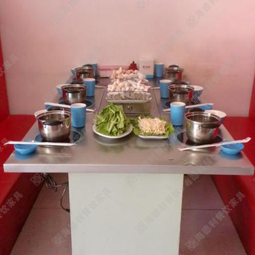 2014新款 内嵌式电磁炉 不锈钢火锅桌 一人一锅火锅桌