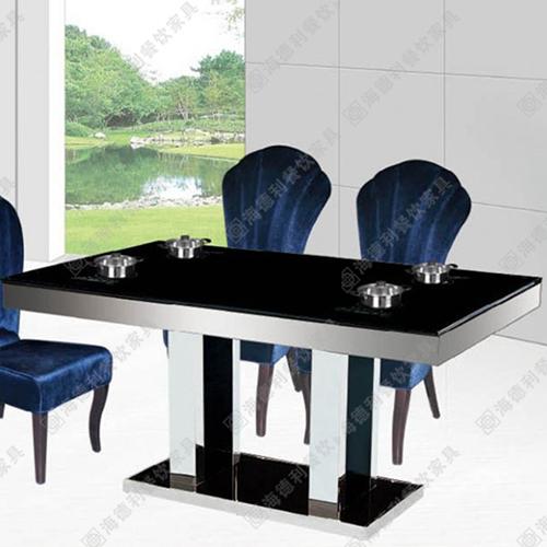 火锅店桌子 不锈钢火锅桌 电动餐桌 钢化玻璃火锅桌